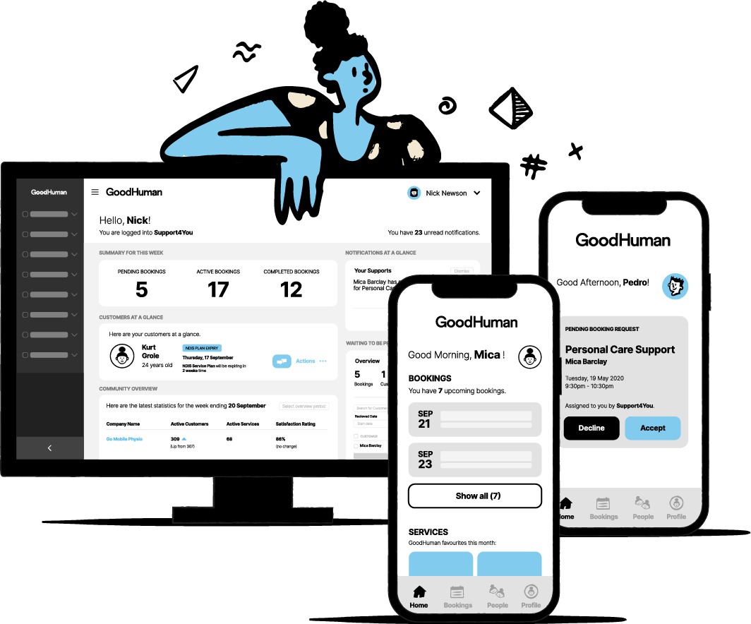 The GoodHuman platform includes a service management software, a business app and a customer app.