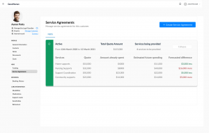 example of service agreement with billing forecast and delta in the GoodHuman workspace